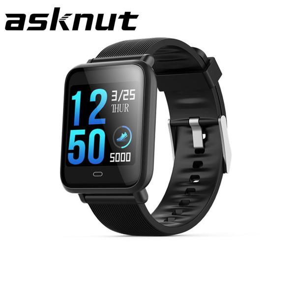 Schermo a colori smart watch Asknut monitoraggio della frequenza cardiaca della pressione arteriosa della frequenza cardiaca 24 ore su 24 7 tipi di ID chiamante modalità sport