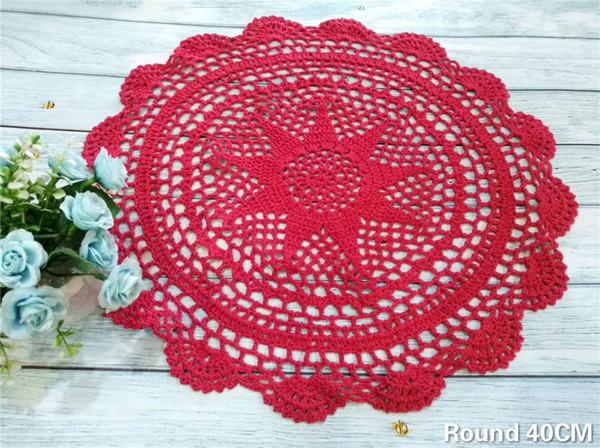 40CM Round Cotton Placemat Crochet Flowers Lace Doily Dining Table Mat Tableware Pad Christmas Drink Coasters Set Kitchen
