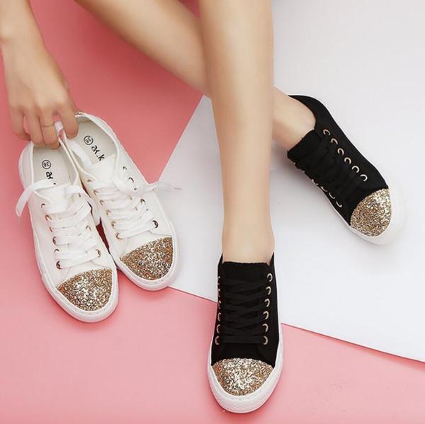 gold glitter decoration canvas shoes woman lace up black/white flats ladies creepers shoes espadrilles women platform flats s295