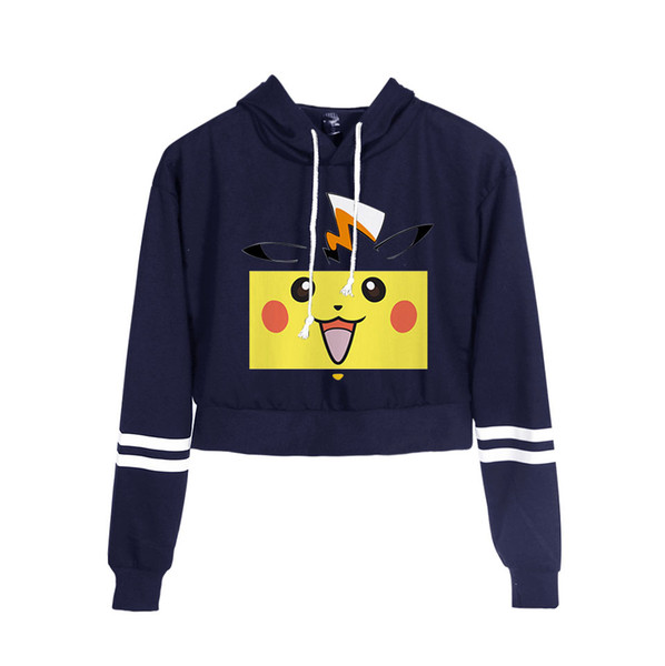 Anime Go Pullover Sexy Navel Sudaderas Con Capucha Sexy Cintura Alta Sudadera Detective Pikachu Crop Tops Chica
