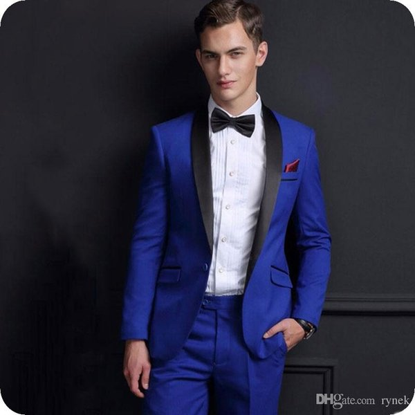 Custom Made Royal Blue Groom Tuxedos Men Suits for Wedding Man Suit Blazers Jacket Black Shawl Lapel 2Piece(Coat+Pants) Terno Masculino