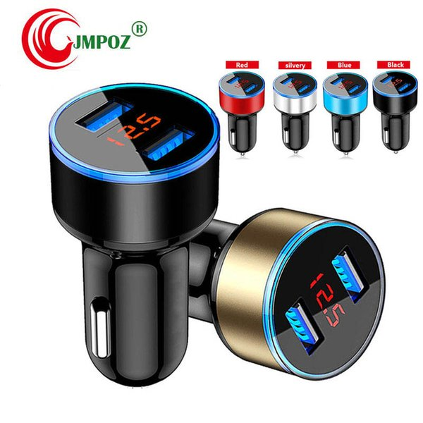 Car Charger 5V 2.1A LED Display Fast charger Dual Usb Phone Car-Charger for xiaomi For iPhone 12-24V Cigarette Socket Lighter