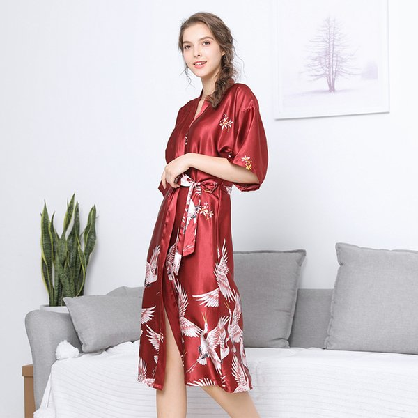 Women silk wedding female summer half sleeve knee length long bridesmaid red bride gown home nightgown robes bridesmaid robes