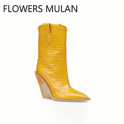 Winter Chunky Boots Women Yellow Genuine Leather Crocodile Pattern Ankle Knee High Boots Slip On Buckle Wedges Shoes Mujer