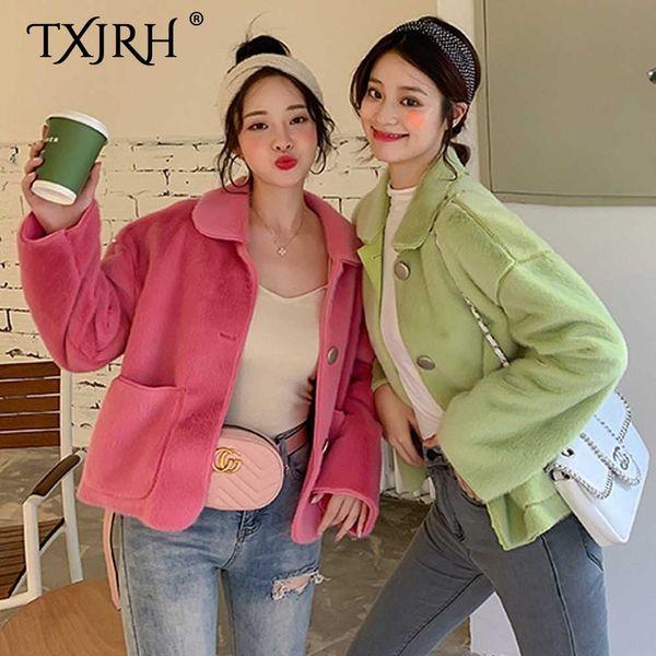 txjrh 2019 stylish faux lapel pockets hairy shaggy outwear women winter keep warm loose jacket coat  4 candy colors