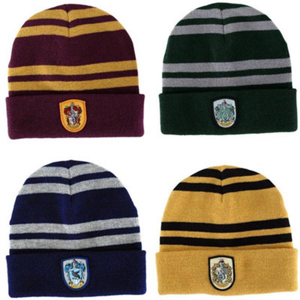 Hiver chaud élastique 4 couleurs Bonnet tricoté Harry Potter cosplay école Badge rayé Chapeaux Gryffondor Bonnet Cap ZZA1189