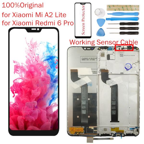Orijinal Xiaomi Mi A2 Lite için LCD Ekran Çerçeve Ekran Dokunmatik Digitizer Meclisi Redmi 6 Pro LCD 10 Nokta Dokunmatik Onarım parçaları