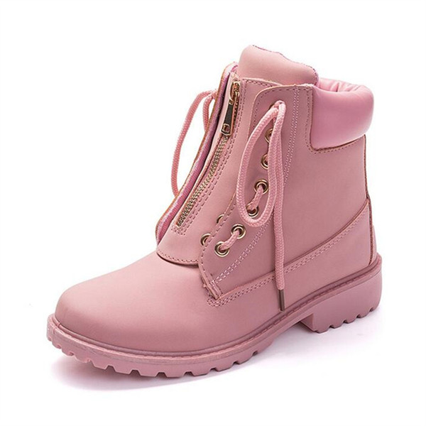 Fashion European Pink Black Cross-tied Ankle Boots Flats Square Heel Zip Martin Boots PU Leather Woman Shoes Botas Female X39
