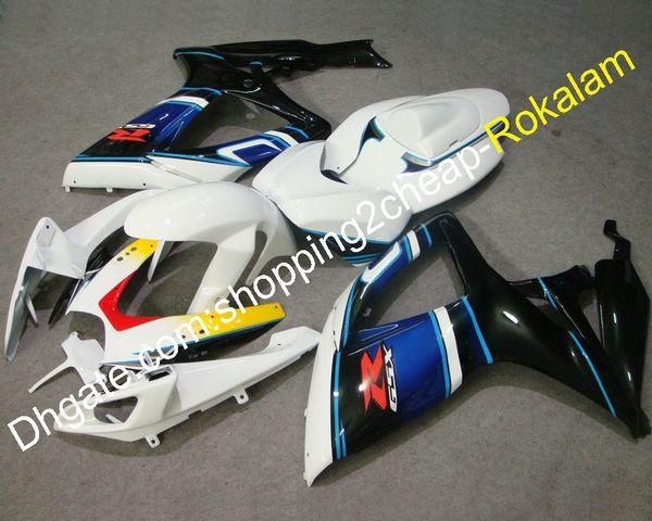 GSXR600 GSXR-750 06 07 Moto-Fitting für Suzuki K6 GSX-R600 R750 2006 2007 Weiß Blau Schwarz Race Verkleidung (Spritzguss)