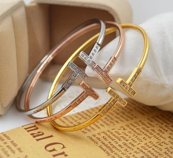 Stainless Steel silver bangle microscope zircon double T letter opening 18 k rose gold plated bracelet bangle for women fashion jewelry