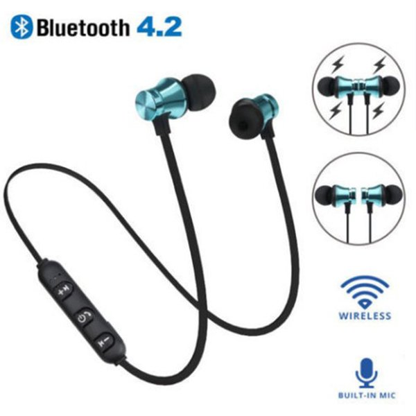 top popular XT11 Bluetooth Headphones Magnetic Wireless Running Sport Earphones Headset BT 4.2 with Mic MP3 Earbud For iPhone LG Smartphones 4 Colors 2021