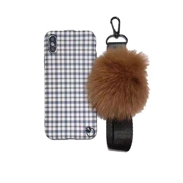 Simple Designer Style Phone Case for iphone 8 plus XS Max protective phone Cover with Fox Fur Wrist strap