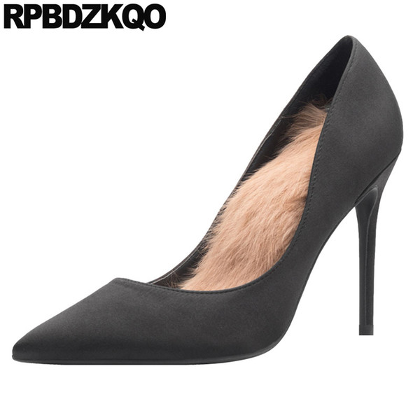 Aşırı elbise sivri burun scarpin siyah yüksek topuklu ayakkabılar süper 10 42 ultra yeşil saten kadın büyük beden ipek ince kürk 8cm pompalar
