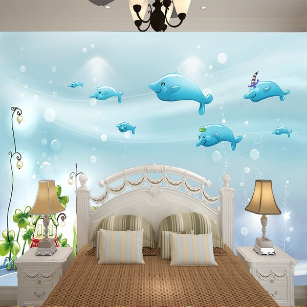 2m *1.5m Custom Large Mural Wallpaper Cute Cartoon Blue Fish Wallpaper For  Kids Bedroom Wall Background Baby Playground House Wall Decor Girls ...
