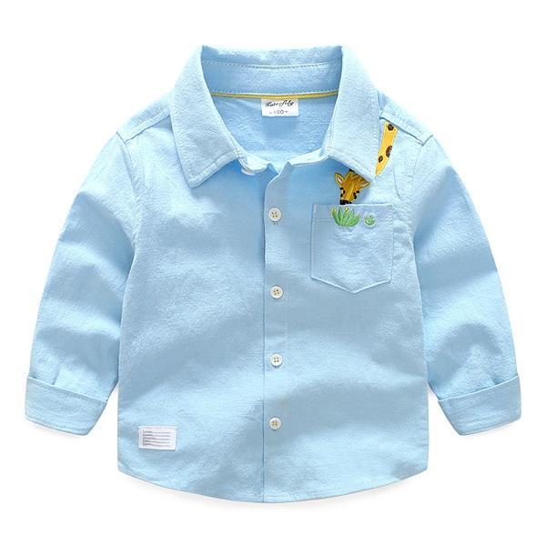 Boy Embroidered Giraffe Elastic Cotton Hemp Long Sleeve Shirt Of Blue Shirt