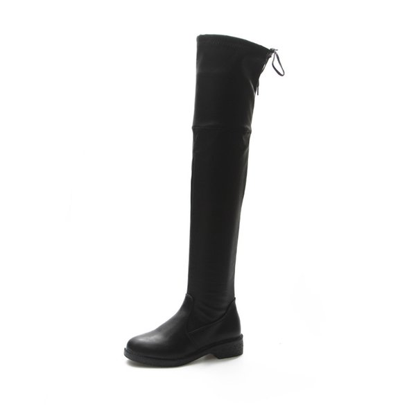 Autumn Winter Pattern Chalaza Matting Overknee Boots Coarse Women's Shoes Increase Canister High Canister Force Boots Woman