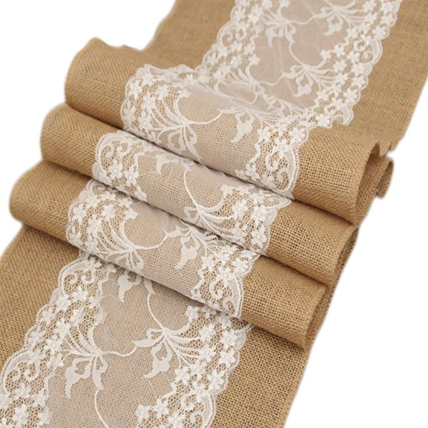 Birthday Lace Burlap Home Gadget Party Dining Room Rustic Vintage Christmas Banquet Restaurant Table Runner Wedding Decoration