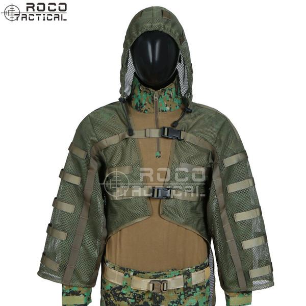 Sniper Ghillie Suit Tog Fondation Hydratation Compatible Respirant Coats tireur d'élite Viper Hoods Armée Vert / Noir
