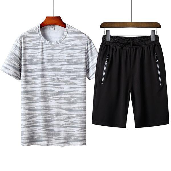 547c44964c6c6 Conjunto de hombres Hombres de verano Chándal Camiseta de manga corta  Pantalones cortos Conjuntos de 2