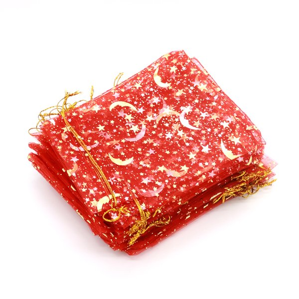 Wholesale 100pcs/lot 9*12cm Golden Star&Moon Red Organza Bags Small Drawstring Candy Gift Bag Jewelry Packaging Bags Pouches