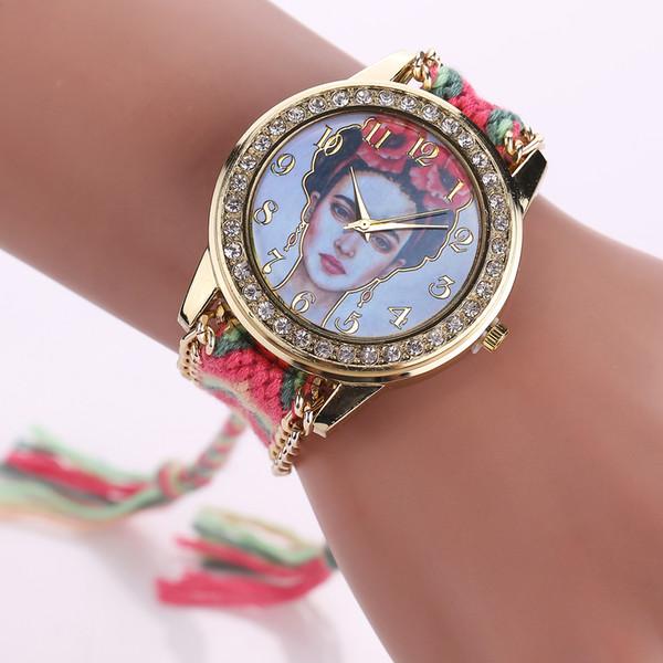 22 modelli Frida Orologi con 14 colori Handmade Weave Wrap Bracciale Donna Dress Quarzo colorato Casual mano-orologio da polso regalo perfetto.