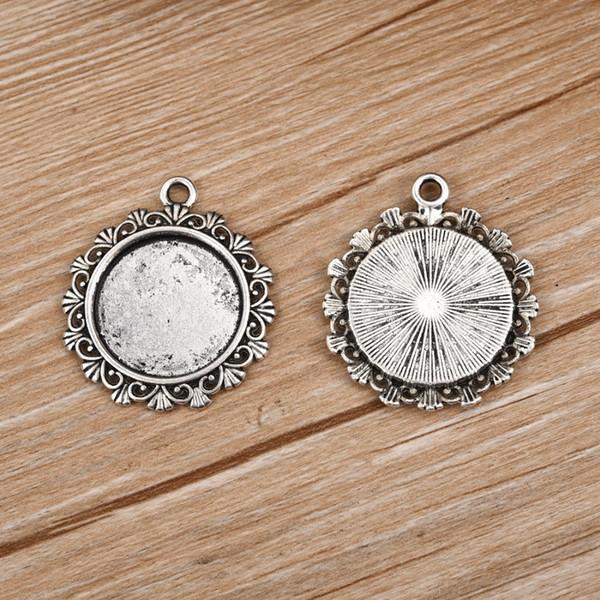 20Pcs base del pendente Impostazione Fit 20 millimetri Cabochon Flat Round Lunetta Gem Base vuoto d'argento Antique Jewelry fanno DIY