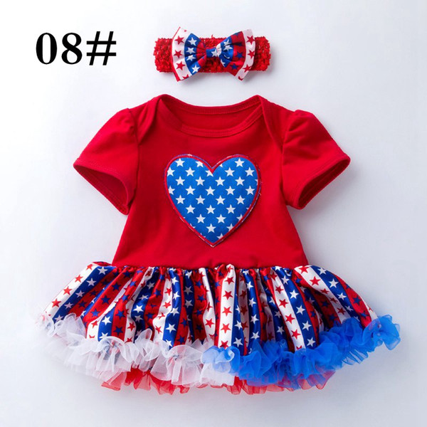 My 1st 4th Of July 2PC Dress With Matching Headband American Flags Baby Girls Tutu Dresses Rompers Headbands set