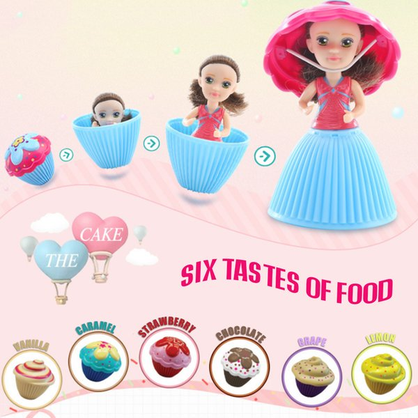 Cupcake Scented Princess Doll 8.5CM 12 PCS Reversible Cake Debbie Lisa Etude Britney Kaelyn Jennie with 6 Flavors Magic Toys for Girls