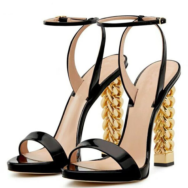 059eb8a90e6 New Black Patent Leather High Heel Sandals Women Ankle Buckle Strap Runway  Party Shoes Gold Chain Strange Heel Sandalias Mujer Cute Shoes Leather ...