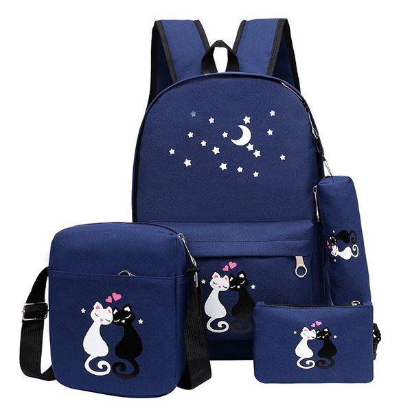 4pcs/set Women Backpack Cat Printing Canvas School Bags For Teenager Girls Preppy Style Rucksack Cute Book Bag Mochila Feminina J190629