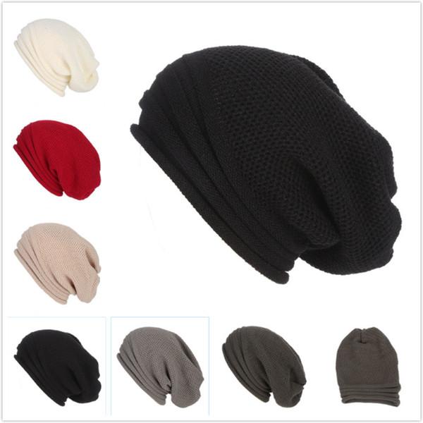 Hommes Femmes Baggy chaud Crochet hiver laine tricot Bonnet de ski Crâne Slouchy Casquettes Chapeau rayé multi-rayures