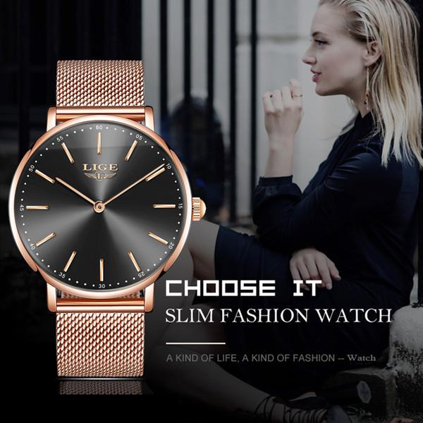 2019 Lige New Rose Gold Women Watch Affari orologio al quarzo Ladies Top Brand di lusso femminile orologio da polso Girl Clock Relogio Feminin J190507