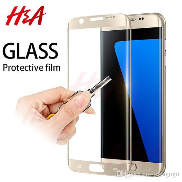 Happy Protective Glass on the For Samsung Galaxy S7 S6 Edge Tempered Screen Protector 4D Curved 0.25mm Glass S7Edge S6Edge Film