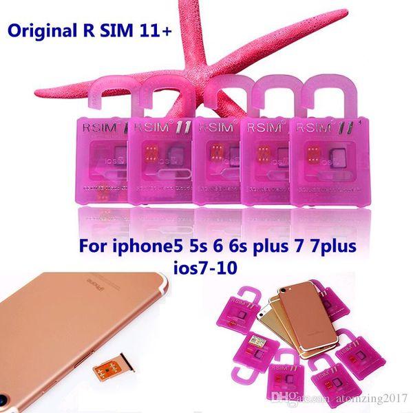 Orijinal r sim 11 + rsim11 artı rsim 11 kilidini kart iphone7 için iphone 5 5 s 6 6 artı iOS7 8 9 10 ios7-10.x CDMA GSM WCDMA SB SPRINT LTE 4G 3G
