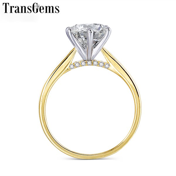 Transgems 14K 585 Two Tone Gold Moissanite Engagement Ring for Women Center 2ct 8mm F Color VVS Moissanite Gold Ring with Accent C18122801
