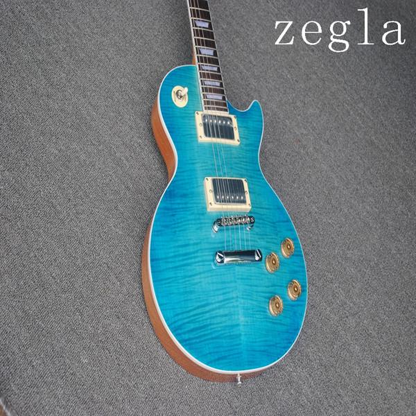 Fábrica Custom Shop Alta Qualidade Tigre Chama Bordo Top Personalizado Guitarra Elétrica Luz Azul Frete Grátis