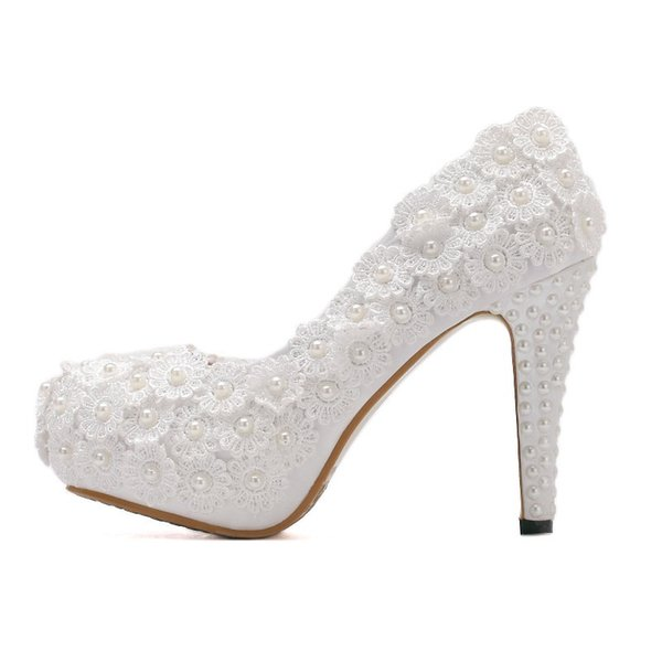11CM Lace Womens Shoes Heels Pumps For Women White Platform Thin Heels Wedding Shoes Party Heels Round Toe Flower Pearls Women Pumps
