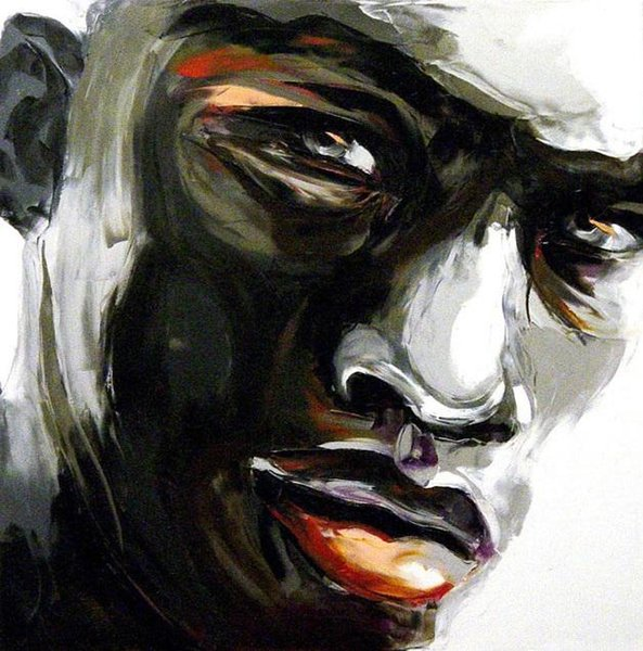 Francoise Nielly Palette Knife Impression Home Artworks Modern Portrait Handmade Oil Painting on Canvas Concave and Convex Texture Face016