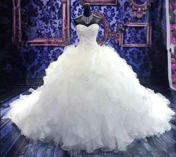 2019 luxo frisado bordado casamento vestidos de noiva querida espartilho organza ruffles catedral vestido de baile princesa vestidos de casamento barato
