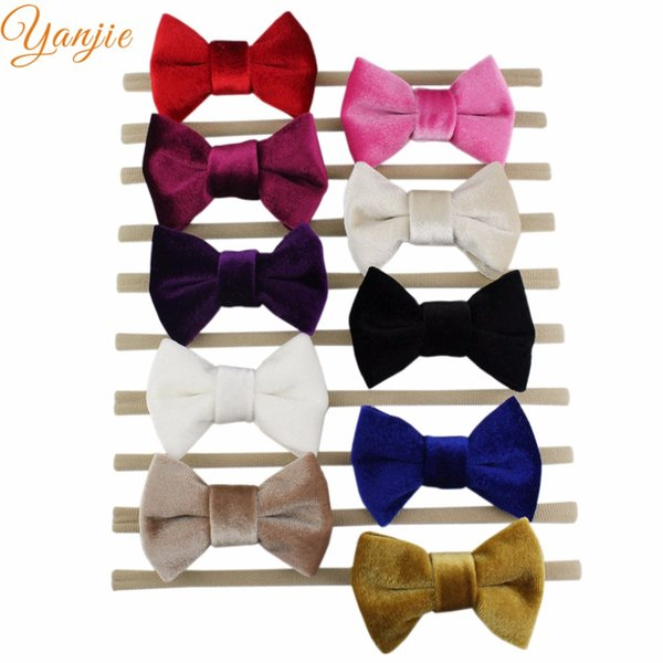 """accessories 10 pcs/lot 2019 3\"""" Spring Tiny Velvet Bow Suede Elastic Nylon Headband Chic Hair Accessories For Birthday Party Headwear"""