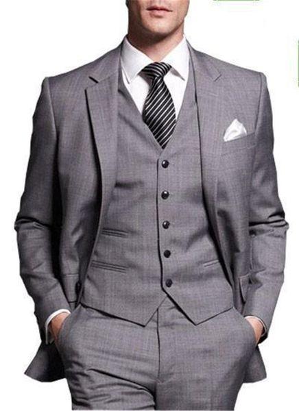 2019 New Arrival Gray Gentlemen Tuxedos Notched Lapel Wedding Suits For Men Two Buttons 3 Pieces Men Suits Slim Fit