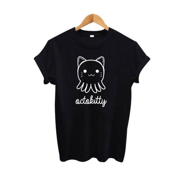 Women's Tee 2019 Summer Cute Cat T-shirt Women Harajuku Cartoon Kitty Graphic Tees Women Clothing Tumblr Hipster Black White Tee Shirt Femme