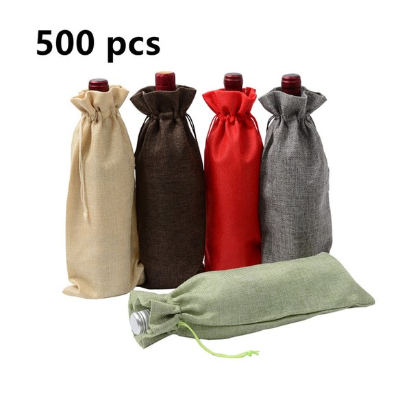 500pcs Jute Wine Bag Wedding Party Wine Bag red Bottle Cover Gift Champagne Pouch Hessian burlap Packaging