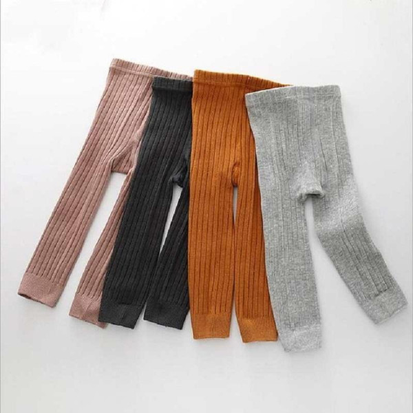 Cheap Baby Girl Stretch Leggings Pants Spring and Autumn Toddler Child Knitting Trousers pink color