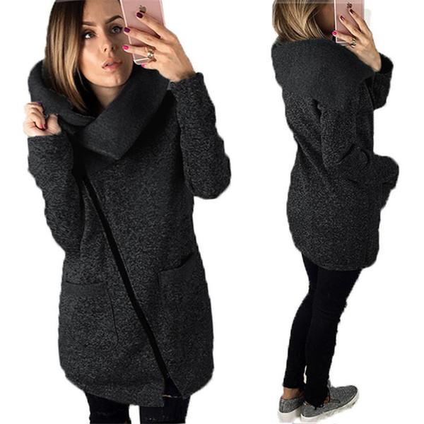 Moda Artı Boyutu Kadın Hoodies Tişörtü Kışın Rahat Hırka Kazak Gevşek Katı Uzun Kollu Fermuar Ile Sıcak Kadın Giysileri