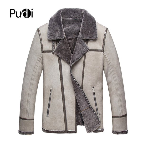 PUDI CW008 2018 Men new fashion real sheep leather jackets with wool fur inside fall winter casual outwear