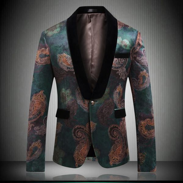 2019 nuevos hombres de la llegada de la boda Blazers Slim Fit de calidad superior de impresión verde Blazer estilo coreano hombres casuales chaqueta de verano Summer