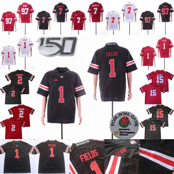 150TH Ohio State Buckeyes 1 Justin Fields Jersey 2 JK Dobbins 7 Dwayne Haskins Jr 97 Nick Bosa 15 Elliott OSU Football Jerseys Red Black