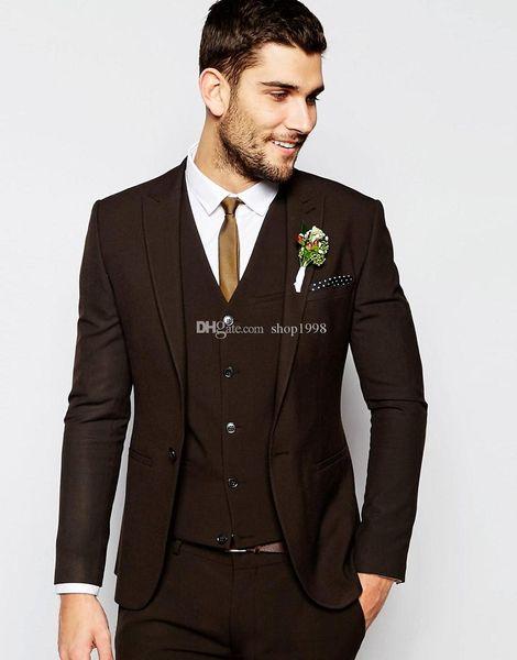 New Style Groom Tuxedos Chocolate Groomsmen Peak Lapel Best Man Suit Wedding/Men Suits Bridegroom ( Jacket+Pants+Vest+Tie ) A333