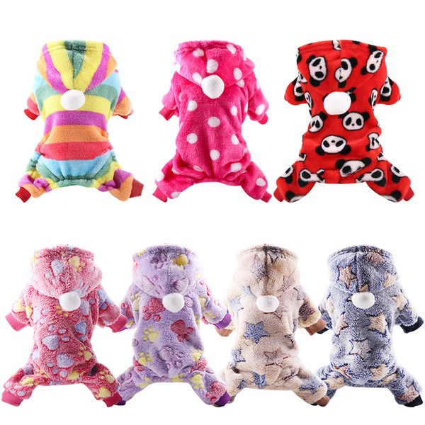 Dog Clothes Pajamas Fleece Jumpsuit Winter Dog Clothing Four Legs Warm Pet Clothing Outfit Small Dog Star Costume Apparel